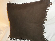 POTTERY BARN CHOCOLATE BROWN FAUX-SUEDE/LEATHER DOWN THROW/TOSS PILLOW FRINGE