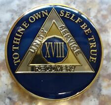 AA Tri-Plate Alcoholics Anonymous Blue/Gold Coin 18 Years Chip Token Medallion