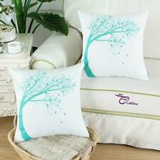 "2Pcs Cushion Cover Pillows Shell Linen Blend Painted Turquoise Sway Tree 18""X18"""