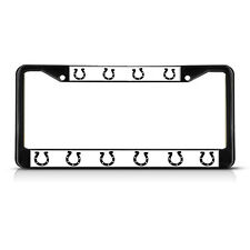 HORSESHOES HORSE HORSES  Black Heavy Duty Metal License Plate Frame