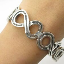 Signed Mexico 925 Sterling Silver Wide Handmade Mens Infinity Link Bracelet 7.5""