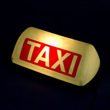 12V White Shell Taxi Cab Sign Roof Top Topper Car Yellow Bright Light Lamp 11""