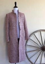 J. CREW Burgundy Cream Tweed Wool Blend Lined Button Front Coat Woman's S Nice!!