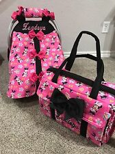 Minnie Mouse Handmade Baby Infant Car Seat Canopy& Diaper Bag