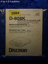 Sony Bedienungsanleitung D 808K CD Player (#3984)