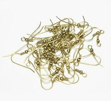 Solid Brass Ear Wire 23 x 19 MM / With-3MM Bead & Coil  Pkg. Of  250  US Seller