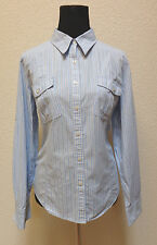 Tommy Hilfiger blue/white Striped Button Down Shirt Size XL Roll Tab Sleeves
