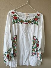 �� Sundance Catalog New $138 Age Of Innocence Tunic Floral Embroidered Blouse L