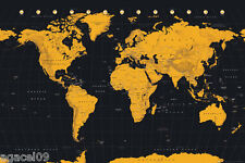 MAXI SIZE MAP OF THE WORLD 91.5 x 61cm POSTER BLACK & GOLD CONTEMPORARY NEW