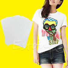 10 Sheets T-Shirt A4 Iron On Inkjet Heat Transfer Paper For Light Fabrics Cloth