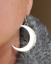 Big Half Moon Tibetan Silver Earrings Wiccan Pagan