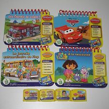 Leap Frog My First LeapPad FRENCH Books & Cartridges LOT 4 Dora Disney Cars