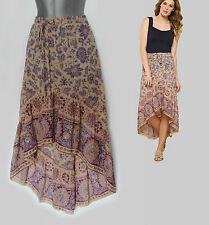 MONSOON Jakarta Printed Asymmetric Embellished Hem Cotton Skirt MEDIUM Casual