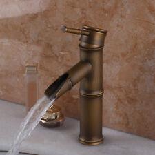 Vintage Bamboo Brass Bathroom Waterfall Sink Mixer Taps , Antique Brass