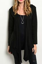 Black or Gray Hooded Drape Front Cardigan/Cover-Up w/ Pockets S M L