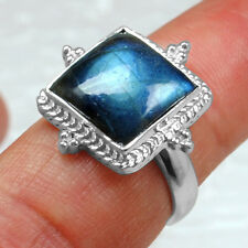 5.67 Gm 925 Sterling Silver Natural Top Labradorite Rings 7 US 100% Pure Jewelry