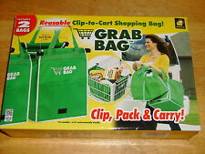 As Seen on TV ~ GRAB BAG ~ Reusable Clip to Cart Shopping  Bag Folds Flat 2 Pack