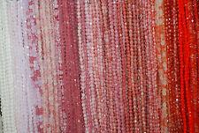 Czech Glas Perlen 4mm facetiert Mix 10 Stränge rosa und rot Töne