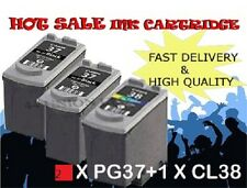 2x PG37 Black & 1x CL38 Colour Ink Cartridge For Canon Printer