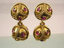 VINTAGE GOLD PLATED PINK PASTE LARGE BALL DROP PENDANT CLIP ON CLASP EARRINGS