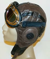 WWII Handmade Genuine Leather Aviator, Pilot,Motorcycle Helmet Hat Cap L size