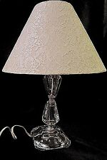 VINTAGE FACETED CRYSTAL TABLE LAMP with White Lace Shade - GORGEOUS!