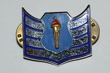 WOW Vintage US NAVY Officer Blue Military Crest Golden Torch Dual Back Pin RARE