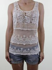 VILA ivory cream crochet lace see through vest top size Small 8 - 10 eu 36 - 38