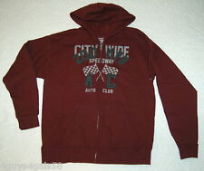 Boys Hoodie Sweat Jacket CITYWIDE SPEEDWAY AUTO CLUB XXL 18 Deep Burgundy HANES