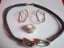 E & L  Sterling Silver 925 Set: Pendant on Leather Cord & Ring size8.5 &Earrings