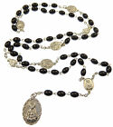 Catholic black glass oval Seven Sorrows medal Mary rosary beads silver metal
