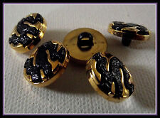 6 BOUTONS doré et noir * 15 mm  1,5 cm pied queue * button black gilt lot