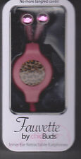 Fauvette by Chic Buds inner ear retractable earphones PINK CHEETAH  NEW EBOX-2