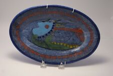 VINTAGE MODERN PORTUGAL  ART  POTTERY  WALL  PLATE FISH DESIGN SIGNED / BLUE