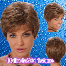 Women Short Wigs Ladies Wavy Trendy Fluffy Synthetic Brown mix Capless Wig