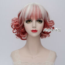 30CM Lolita Red Mixed White Short Curly Fashion Party Women Cosplay Party Wig