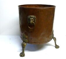 Antique Large Riveted Copper Lion Head & Paw Feet Jardiniere Planter Log Bin