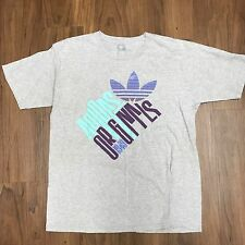 Vintage Adidas Originals Graphic Tee Size Large Grey Purple Blue Rare