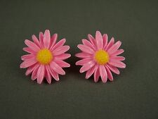 "Pink Yellow plastic cabochon daisy flower floral stud post earrings 1"" wide"