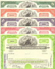 Atlantic Richfield Company Arco oil & gas lot of 5 stock certificates share