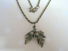*DOUBLE ACORN WITH OAK LEAVES* BRONZE Leaf SP Necklace 18 inch chain GIFT POUCH