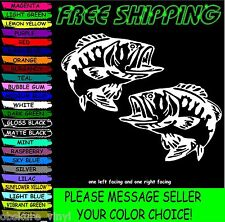 "(2) 7"" BASS fish boat fishing kayak VINYL DECAL STICKER LAPTOP"
