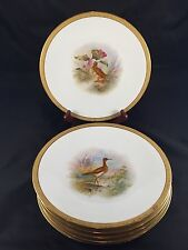 Antique Hand Painted Limoges Game Bird Plates with Gilded Edge, T&V France