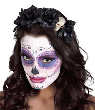 Ladies Mexican Day Of The Dead Black Rose Skull Headdress Skull Día de Muertos