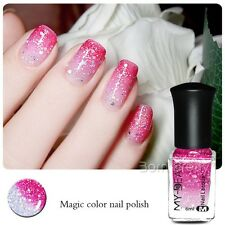 6ml 1pc Color Changing Nail Glitter Polish Peel Off Polish Red to Transparent
