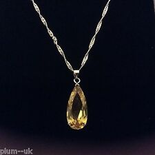 P150 Large 25mm Yellow Citrine Pendant & Chain 18k White Gold gf, Plum UK BOXD