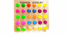 DOT STUD EARRINGS 15 PAIRS EARRINGS NEON COLOR EARRINGS