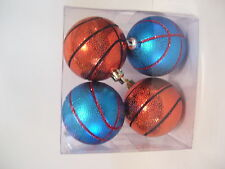 4 ORANGE & TURQUOIS TEAL BASKETBALL ORNAMENTS CHRISTMAS DECORATIONS