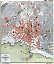 Pianta di Cagliari. Carta Topografica,Geografica. Cromolitografia. Sardegna.1895