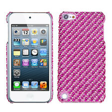 iPod Touch 5th & 6th Gen - DIAMOND BLING HARD SKIN CASE COVER PINK STRIPES DOTS